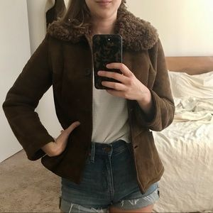 Vintage 70's Brown Fur Collared Coat